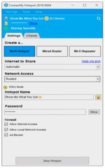 captura de pantalla de la aplicación connectify