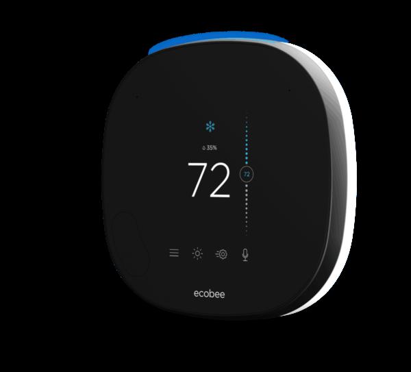 Una imagen de marketing del modelo negro ecobee SmartThermostat 2019 con la temperatura que se muestra en la pantalla.