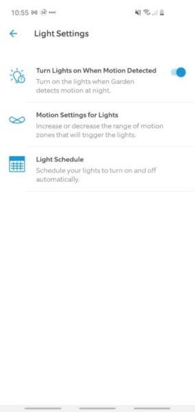 Aplicación Ring: la sección de opciones de iluminación de la cámara del reflector que muestra el encendido / apagado de las luces (manual y programado) y las zonas de movimiento de la luz.