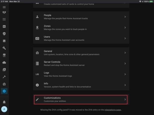 Vaya al menú Personalizaciones Configuración -></noscript> Personalizaciones.» class=»wp-image-8839 jetpack-lazy-image» width=»512″ height=»384″ data-recalc-dims=»1″ data-lazy- data-lazy- data-lazy-src=»https://i2.wp.com/smarthomehobby.com/wp-content/uploads/2021/03/customizations-menu-home-assistant.jpg?resize=512%2C384&is-pending-load=1#038;ssl=1″ /></p> <li>Navega al <strong>Personalizaciones </strong>menú. <ul> <li>Configuración -> Personalizaciones.</li> </ul> </li> <li>Elija la entidad que desea personalizar.</li> <li>Elija el atributo que le gustaría cambiar.</li> <li>Guarde sus cambios.  Para los íconos, recuerde visitar materialdesignicons.com o https://mdi.bessarabov.com/.</li> <li>Los cambios deberían entrar en vigor inmediatamente o cuando el estado del dispositivo cambie nuevamente.</li> <h2>Conclusión</h2> <p>La flexibilidad proporcionada por Lovelace puede ayudar a que su tablero sea tan único como su hogar inteligente.</p><div class=