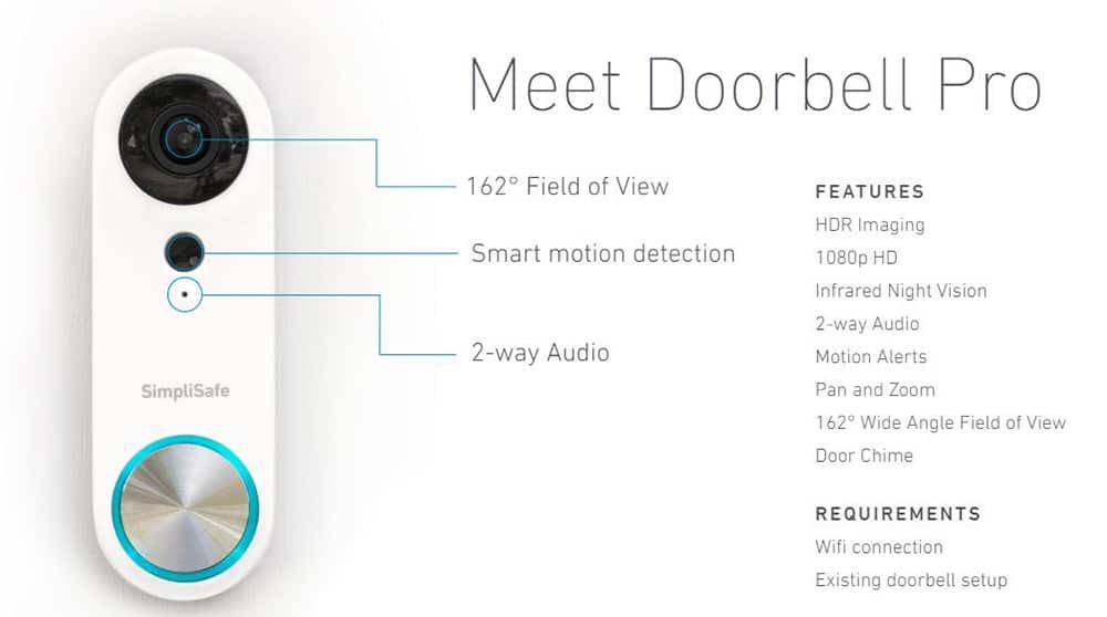 Especificaciones de SimpliSafe Video Doorbell Pro