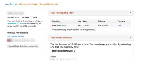 cancelar usando la página ilimitada de Amazon kindle Iniciar sesión