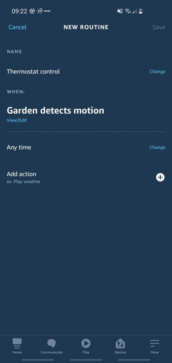 Usar una cámara Ring como disparador para una rutina de Alexa