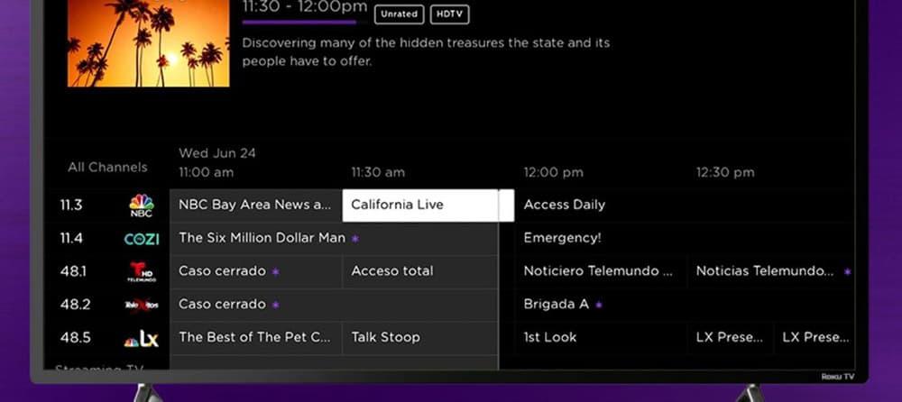 Ejemplo de guía de Roku Live TV